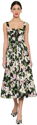 Dolce & Gabbana Printed Cotton Poplin Midi Dress