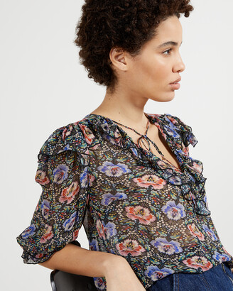 Ted Baker TIFNIE Printed Woven V Neck Top