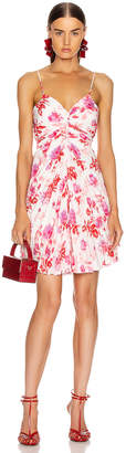 MSGM Pleated Floral Dress in Red, Pink & White | FWRD