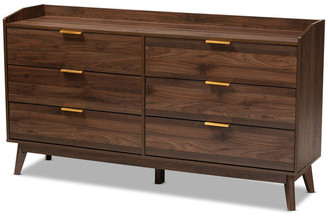 Baxton Studio Kayley Mid-Century Modern Walnut Brown 6-Drawer Wood Dresser