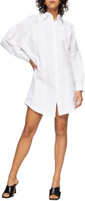 Topshop Textured Mini Shirtdress