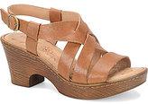 Børn Carmo Leather Criss Cross Sling Back Block Heel Sandals