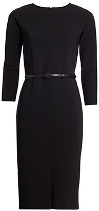 Max Mara Liriche Stretch-Wool Belted Sheath Dress