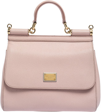 Dolce & Gabbana Light Pink Leather Medium Miss Sicily Top Handle Bag
