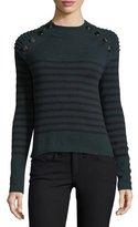 Autumn Cashmere Breton Striped Mock-Neck Cashmere Sweater w/ Button Trim
