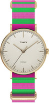Timex Women's Weekender Fairfield Pink and Green Nylon Strap Watch 47mm TW2P91800JT
