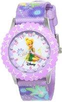 Disney Kids' W000277 Glitz Tinker Bell Stainless Steel Time Teacher Purple Bezel Printed Strap Watch