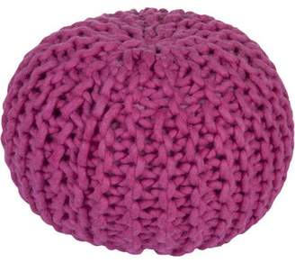 Libby Langdon Interlocking Knit Hand Crafted Solid Wool Decorative Pouf, Magenta