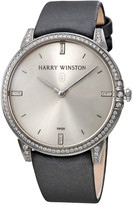 Harry Winston Midnight Silver Dial 18kt White Gold Diamond Stain Watch