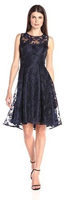 London Times Women's Scattered Flower Organza Illusion Neck Sleeveless Dress