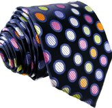 Shlax & Wing Shlax&Wing Extra Long Size Dots Blue Multicolor Mens Neckties Ties Silk