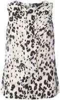 Leopard Print Draped Shell Top