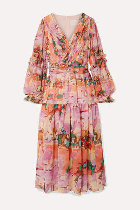 Peter Pilotto Wrap-effect Ruffle-trimmed Printed Silk-georgette Midi Dress - Pink