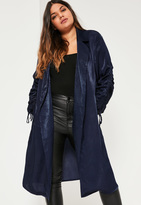 Missguided Plus Size Navy Satin Gather Tie Cuff Duster Jacket