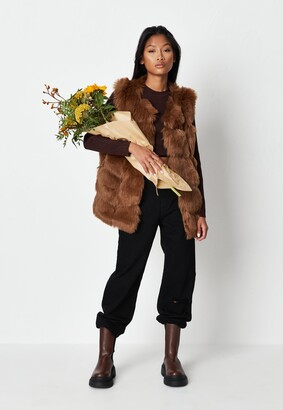 Missguided Brown Pelted Faux Fur Gilet