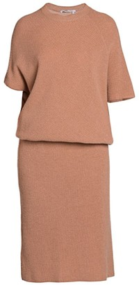 Agnona Cashmere Pearl Ribbed Dolman Knit Sweaterdress