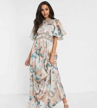 Little Mistress Tall lace insert maxi dress in marble print