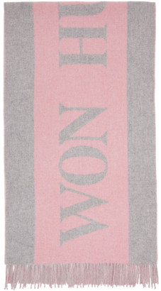 Won Hundred Pink and Grey Wool Vanessa Logo Scarf