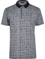 River Island MensNavy chunky rib polo shirt