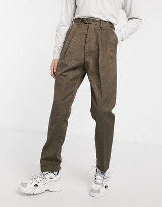 ASOS DESIGN high waist wide leg trouser in brown stripe