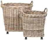 Pottery Barn Portland Wheeled Woven Tote Baskets, Set of 2