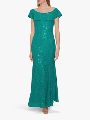Gina Bacconi Amara Floral Embellished Maxi Dress, Green