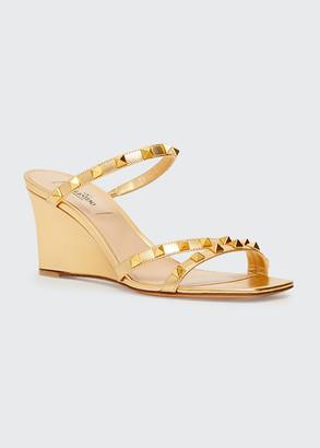 Valentino Metallic Rockstud Wedge Espadrille Sandals