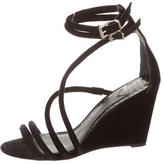 Brian Atwood Suede Multistrap Wedges
