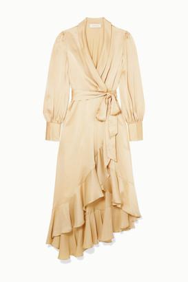 Zimmermann Super Eight Ruffled Silk Wrap Midi Dress - Cream