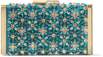 Jimmy Choo J BOX Dark Teal Satin Clutch Bag with Crystal Embroidery