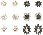 Charlotte Russe Embellished & Faceted Stone Stud Earrings - 6 Pack