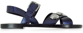 Jil Sander Dark Blue Leather Flat Sandal