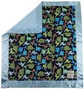 """MyBlankee My Blankee Dino Minky Midnight w/ Minky Dot Blue Baby Blanket, 30"""" x 35"""""""