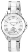 Vince Camuto Women's VC/5047WTSV Round Swarovski Crystal Accented Silver-Tone White Ceramic Bracelet Watch