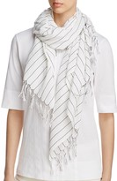 Eileen Fisher Contrast Stitching Organic Cotton Scarf
