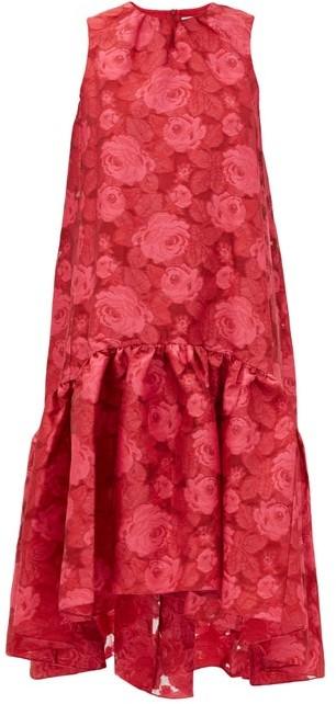 Erdem Winsloe Drop-hem Floral-jacquard Organza Dress - Pink
