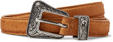 Saint Laurent - 2cm Brown Distressed Suede Belt