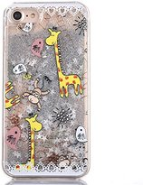 iPhone 7 Case, iPhone 7 Liquid Case, Rosepark Fashion Creative Design Giraffe Pattern Flowing Liquid Floating Luxury Bling Glitter Sparkle Case Cover for iPhone 7 4.7 inch(Silver)