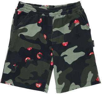 Neil Barrett Camouflage Print Cotton Sweat Shorts