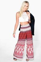 Boohoo Petite Lucia Ethnic Print Woven Wide Leg Trouser