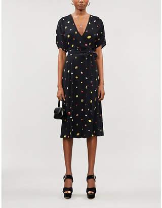 Diane von Furstenberg Kelsey printed crepe midi wrap dress