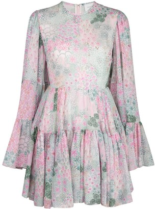 Giambattista Valli Floral Print Silk Dress