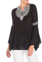 Angie Contrast Embroidery Bell Sleeve Tunic