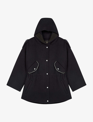 Maje Gangzou double-faced wool hooded coat