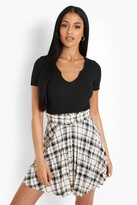 Thumbnail for your product : boohoo Tall Check Pleated Mini Skirt With Belt