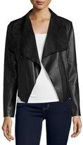 Bagatelle Faux-Leather Open-Front Jacket, Black