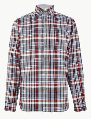 Marks and Spencer Pure Cotton Checked Relaxed Fit Shirt