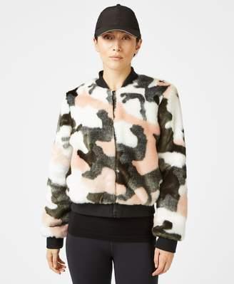 Sweaty Betty Malabar Faux Fur Bomber Jacket