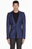 Gareth Pugh Blue shawl collar jacket