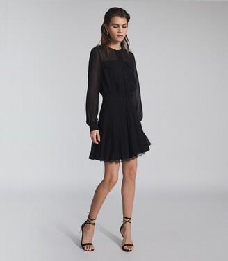 Reiss Mallie - Lace Trim Mini Dress in Black